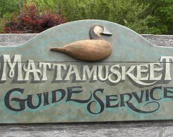 Mattamuskeet Guide Service Duck Decoy   Sign, original art hand painted  NC