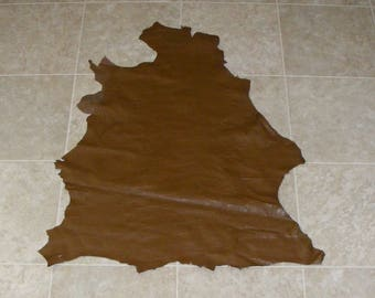 FCA8054-11) Hide of Brown Reptile Print Lambskin Leather Skin
