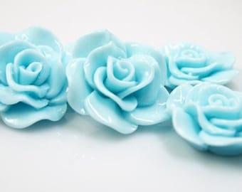 Resin Cabochon - 5pcs - Flower Cabochon - Light Sky Blue Flower Cabochon - Cabochon - SW005-22