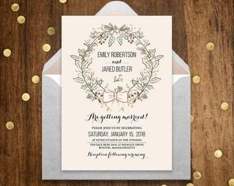 Wedding Rustic Wreath Winter Invitation Printable Neutral Cream, Ivory, Champagne Wedding Invite, Rustic Wedding Template DOWNLOAD Editable