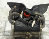 NEW!! Treasure Chest Desk Organizer Monster With Hands Trinket Box Ring Box Small Storage Stash Black Leather Harry Potter Labyrinth