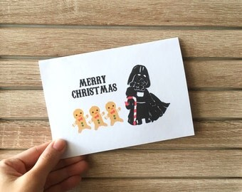 3 Christmas Cards, Darth Vader Card, Star Wars Cards, Christmas gifts, Funny Cards, Christmas Cards Set, Ginger Breadman, Cute Cards, OOAK