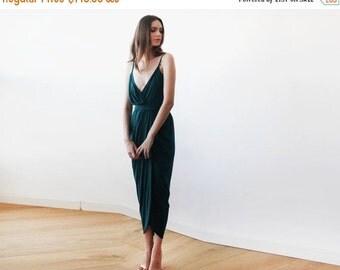 Oscar Sale Wrap maxi Emerald green tulip dress, Emerald bridesmaids gown, Green tulip maxi dress 1033