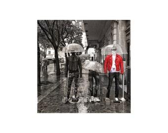 Rainy Paris, Haute Couture, Umbrellas, Black White Red, Fashion Scene, Street Photography