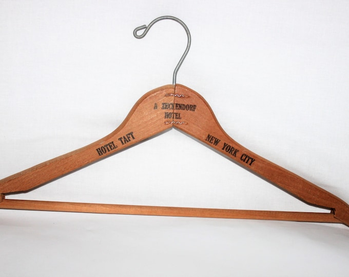 Vintage Mid-Century Modern Wooden Hanger from the Infamous Hotel Taft New York City