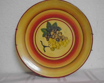 Gorgeous Hand Painted Vintage German Plate / Rare / Grapes / 1940's / Marked and Maker.