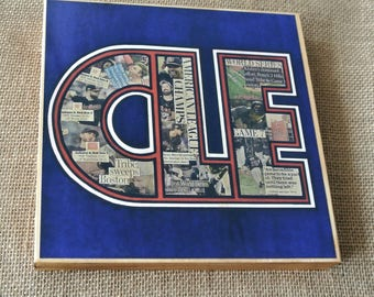 CLEVELAND INDIANS CLE Rally Together - 8x8 Handmade Wood Print