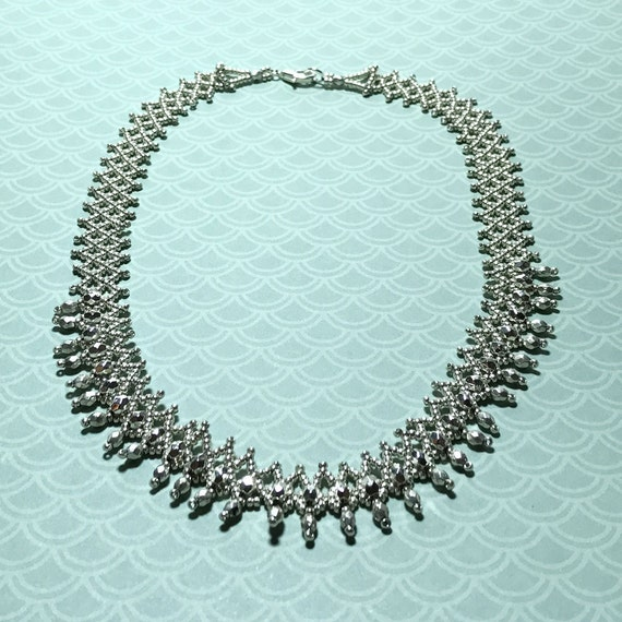 beaded lace collar netting necklace silver beaded collar