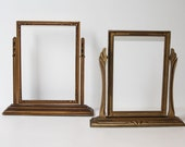 2 Antique, Embossed Gold, Tabletop, Swing Pedestal, Picture Frames, 1920s, Lovely Condition, Original Finish