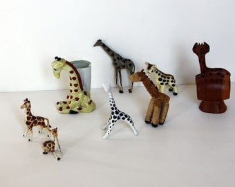 8 Vintage Giraffes All Different and Very Sweet Instant Collection: Bone China, Porcelain, Wood, etc., One Free Mid Century Finland