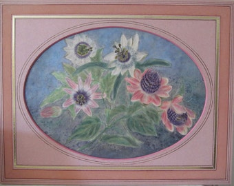 Antique Passionflower Pastel, Pink&White Passion Flowers, Hand Done, Original Hand Made French Mat, Oval Window, c.1920, Ready to Frame!