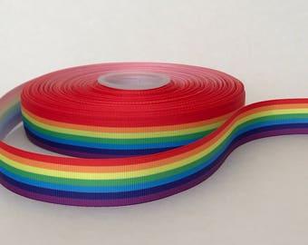 "7/8"" Rainbow Gay Pride Grosgrain Ribbon"