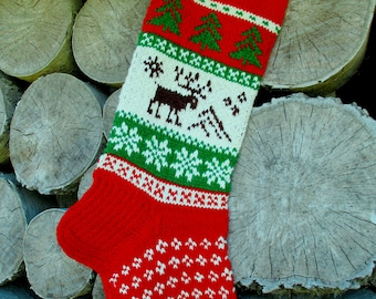 Christmas Stocking Personalized Hand knit Wool Stocking Gray Red White Blue with  Deer Santa Snowflakes Trees Snowman