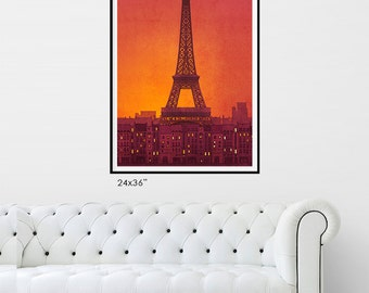 New day - Paris Poster - Extra Large Wall art Fine Art illustration Art Poster Paris Eiffel Tower Home Decor Living room Gift ideas for her