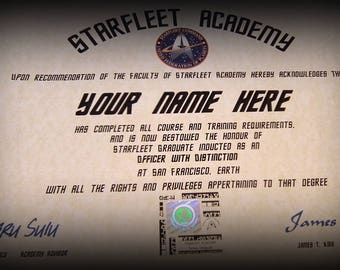 Star Trek Starfleet Academy Personalised Certificate for your Very Own Trekkie