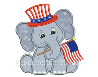 Patriotic Elephant holding Flag Applique Machine Embroidery Design American USA 4th July INSTANT DOWNLOAD