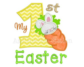 My 1st Easter Carrot Bunny Applique Machine Embroidery Design baby spring rabbit first INSTANT DOWNLOAD