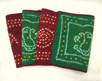 Vintage GREEN And BURGUNDY Reversible Placemats / Set Of Four / Bohemian Quilted Fabric Placemats