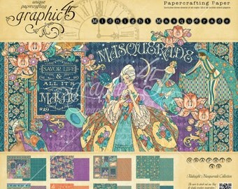 """Sale-Graphic 45 """"Midnight Masquerade"""" 12 x 12 Paper pad Cardstock Collection"""