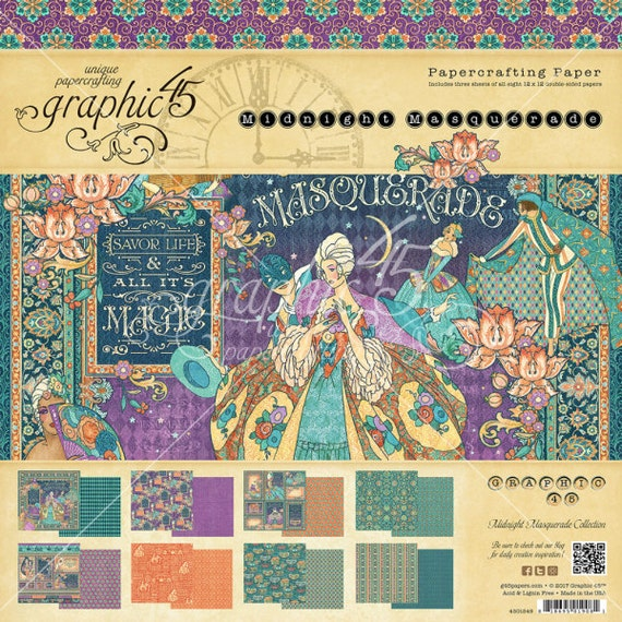 "Sale-Now Shipping-Graphic 45 ""Midnight Masquerade"" 12 x 12 Paper pad Cardstock Collection"