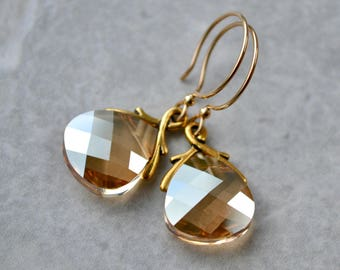 Large Crystal Earrings, Crystal Wedding Jewelry, Gold Crystal Earrings, Swarovski Dangle Earrings, Bridesmaid Gift, Mother of the Bride Gift