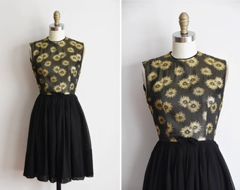1960s Atomic StarGlow dress/ vintage 60s metallic dress/ novelty chiffon party dress
