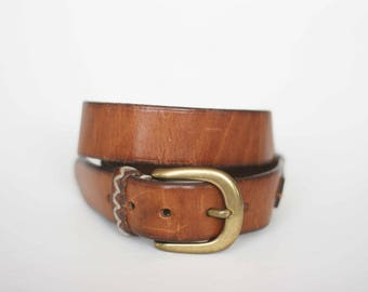 vintage banana republic brown leather belt with brass buckle size 32