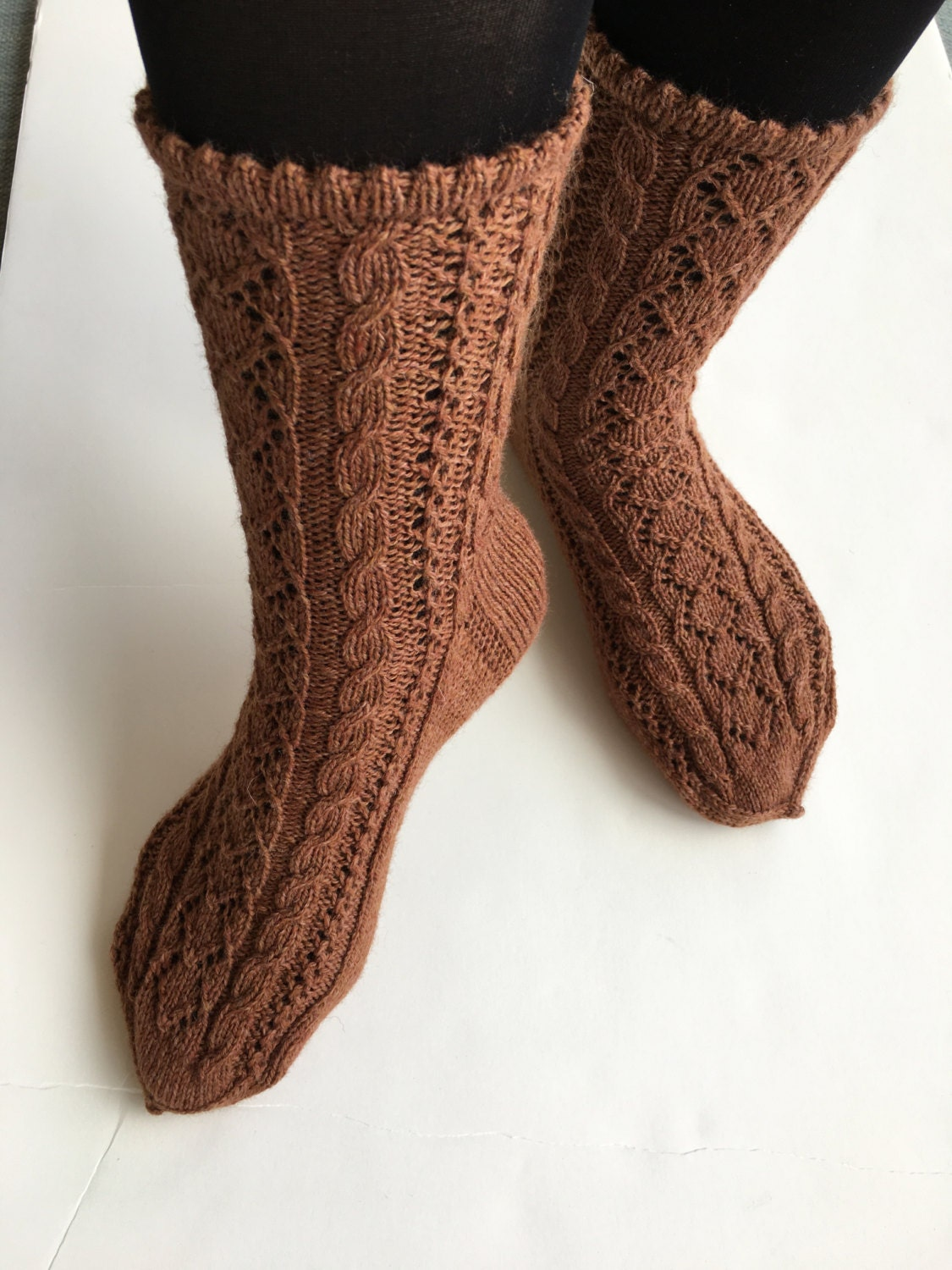 Hand knitted lace pattern socks women size 8-9 color brown.