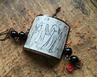 Rustic Assemblage * Medieval Dance * Woman bracelet - mixed media . collage . rustic black white and red . large focal chocker bracelet