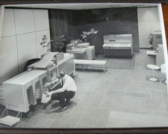 1960's Xerox Official Photograph by Peter Steiner,  Multiple Machines Duplicators Copers, Vintage Modern Office Furniture, Too!