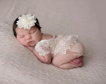 Newborn photo prop, newborn romper, lace romper, baby photo prop, baby romper, newborn romper set, Emilyz Embellishments, photo prop, baby