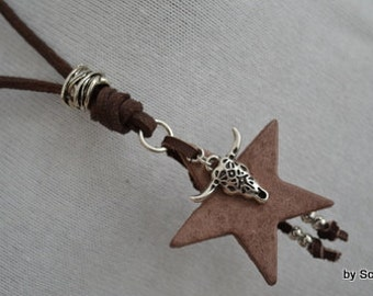 Dark brown leather chain with star & Bull's head