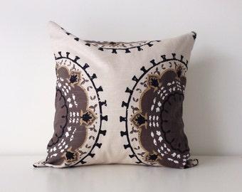 "Dwell Studio Pillow Cover, 16x16"", Medallion Print, Robert Allen, Brown, Beige, Black, Modern Cushion Cover, Contemporary Decor"