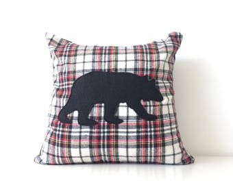 Bear Silhouette Pillow Cover, 16x16, Black Bear Pillow, Flannel Buffalo Plaid Modern Cushion Cover, Rustic Cottage Decor, Canadian,