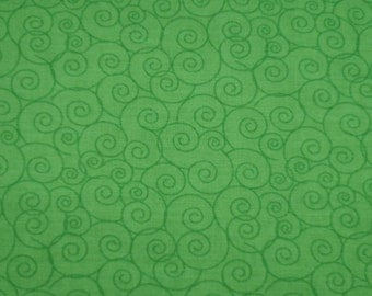 """Linda's Scrolls - Kelly Green - Cotton Quilting Fabric, 44"""" Wide, By the Half Yard"""