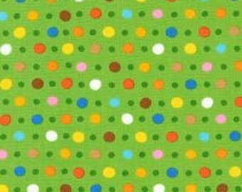 Jump into Fun, Jump Dot Jade, Green Polka Dots, Robert Kaufman Quilting Cotton, by the Half Yard