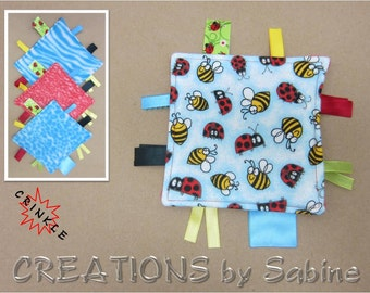 Mini Crinkle Baby Tag Blanket Toy, Sensory Boy Girl Ladybugs Bees Insects Critters Blue Red Yellow Sound Shower Gift READY TO SHIP (300c)