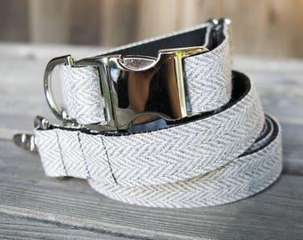 Gray Tweed Herringbone Dog Collar - Adjustable Collar with Metal Hardware and Metal Buckle, Spring Dog Collar
