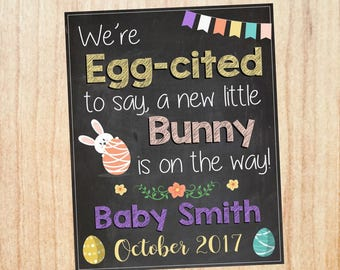 Easter Pregnancy Announcement sign. PRINTABLE Spring New baby Chalkboard. DIGITAL chalk board poster.  photo prop. eggcited to say