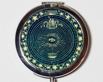 Eye Tarot Compact Mirror - Occult Vintage Imagery Divination - Make Up Pocket Mirror for Cosmetics