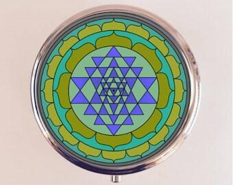 Sri Yantra Pill Box Case Pillbox Holder Stash Trinket Box Hinduism Hindu Symbol Mystical New Age Sacred Geometry