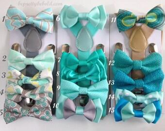 Bowtie & Suspender Set Teal Bowtie Aqua Baby bowties Blue Green boys bow ties Mens bow tie Striped Neck Ties Wedding Ring bearer Photo Props