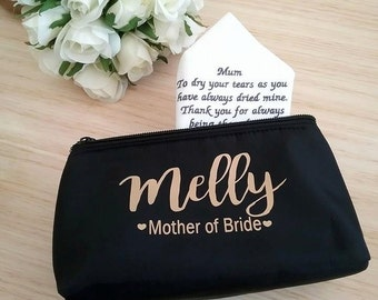 Mother of the Bride gift, makeup bag Personalised, makeup bag, personalised make up bag, black makeup bag, bridesmaid gift idea, bride gift