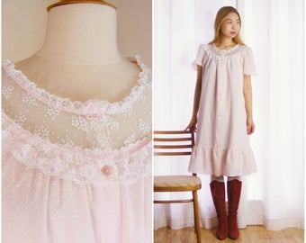 Vintage Victorian Style Nightgown - Pink Cotton Nightgown - Lace and Ruffles - 1980s Babydoll Lingerie (small medium)