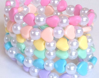 Rainbow Heart and Pearl Stretch Bracelets - Set of 7