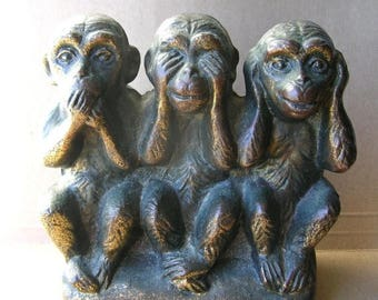 Brass Monkey Bank - Hear no Evil - See No Evil - Speak No Evil - Primate Collectible - Zoology - Primatologist Gift