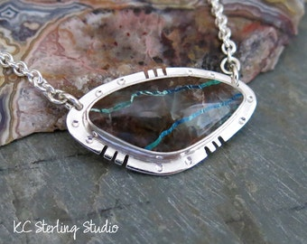Natural chrysocolla  pendant necklace with sterling silver metalsmith - silversmith