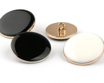 6~10 pcs 0.35~0.98 inch High-grade Shiny Black/White+Gold/Silver Metal Shank Buttons for Shirts Suits Coats