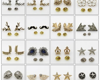 2 pcs 0.55~1.61 inch Fashion Retro Gold/Silver/Bronze/Gun Black Metal Shank Buttons for Brooches