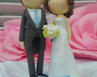 Wedding Cake topper blue theme wedding clay doll, bride in strapless wedding gown clay miniature, groom in long tail tuxedo clay figurine